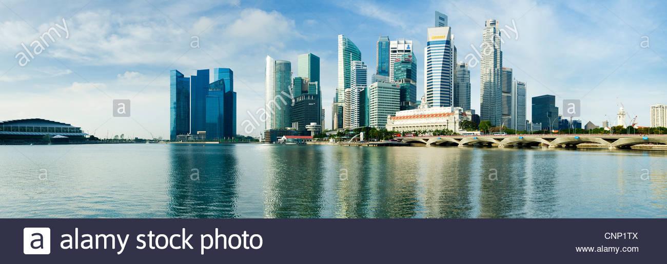 Lo skyline della città Singapore Immagini Stock