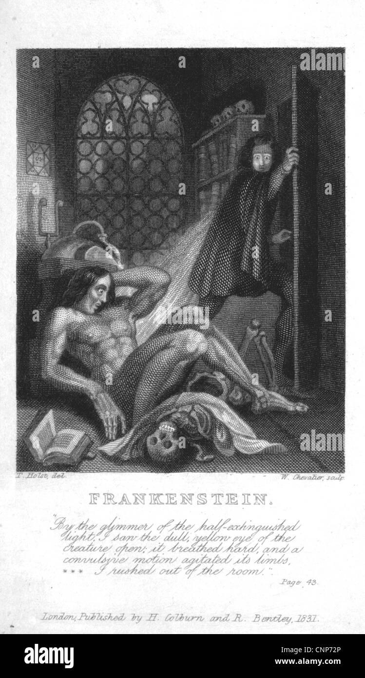 FRANKENSTEIN all'interno della pagina del titolo dal 1823 edizione del romanzo gotico di Mary Shelley Immagini Stock