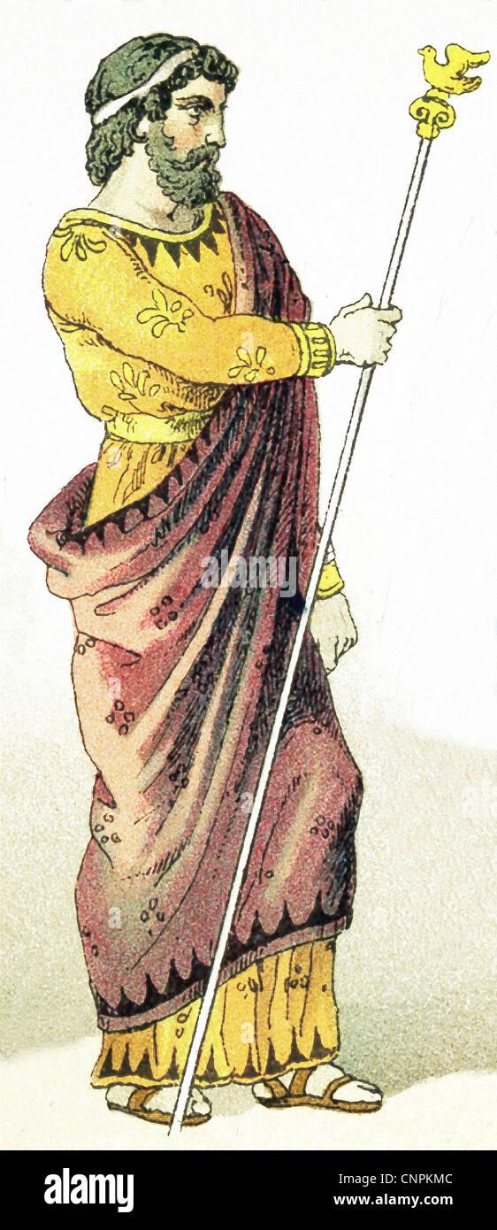 Questa immagine mostra un antico re greco. L'illustrazione risale al 1882. Immagini Stock