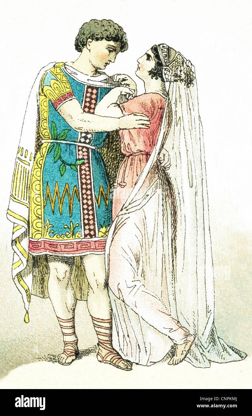 Questa immagine mostra un greco antico coppia di sposi. L'illustrazione risale al 1882. Foto Stock