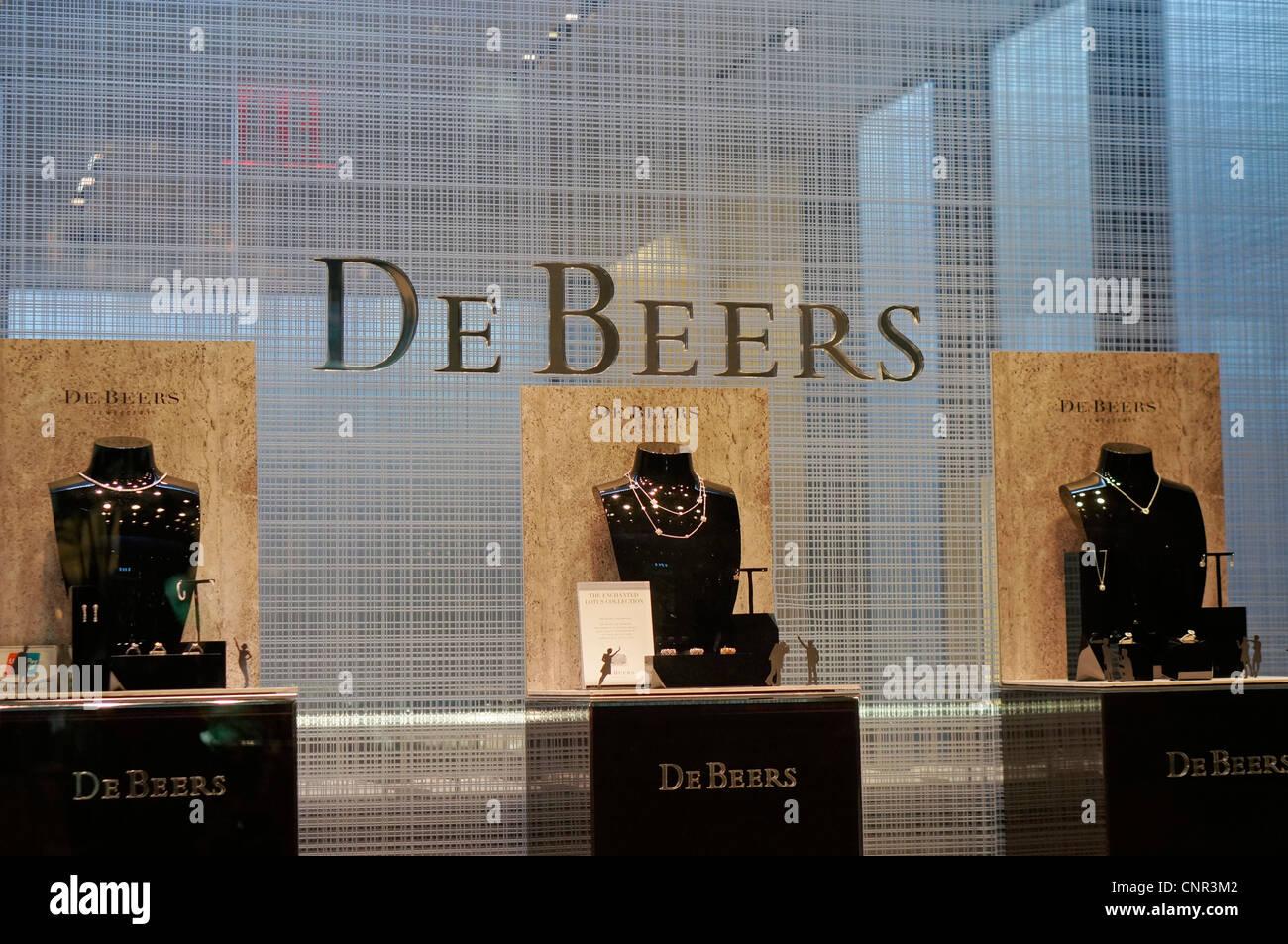 La finestra di visualizzazione di una De Beers store shop Foto Stock