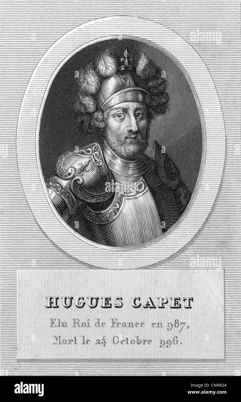 Re di Francia, Hugo Capet o Ugo Capeto, Duca di Francia o Dux Francorum, re della dinastia Capetian, decimo secolo, Immagini Stock