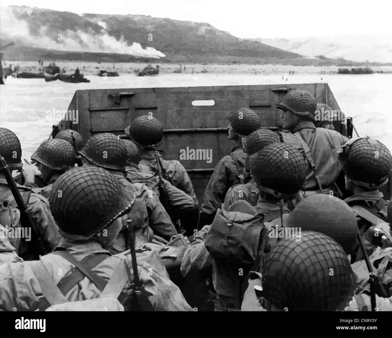 Restaurata digitalmente la foto del vettore delle truppe americane in una landing craft avvicinando la spiaggia Immagini Stock