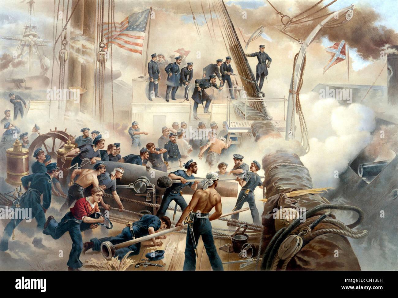 Vintage Guerra civile americana la stampa che mostra una battaglia in mare tra Unione e navi confederati. Immagini Stock