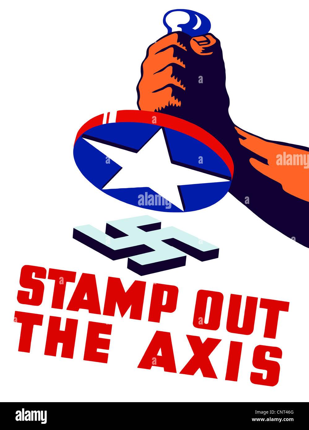 Vintage II Guerra Mondiale poster di un pugno tenendo un timbro di una stella, attorno a rompere la svastica nazista. Immagini Stock