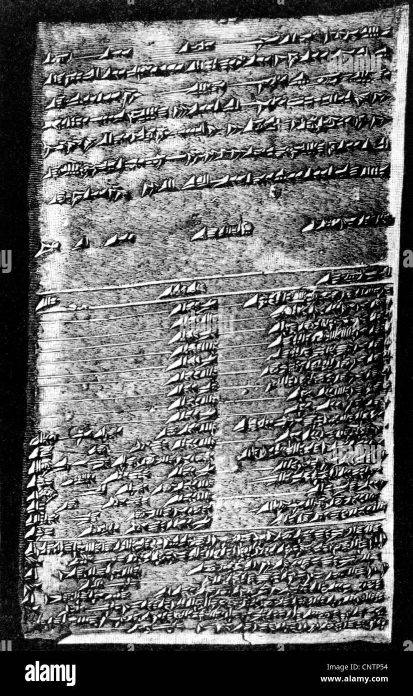 La scrittura di script cuneiforme, Assur, compressa dall'archivio di Ashurbanipal (1050 - 1032 BC), script Mesopotamia, Immagini Stock