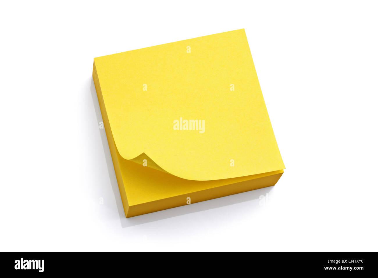 Blank bigliettino giallo Immagini Stock