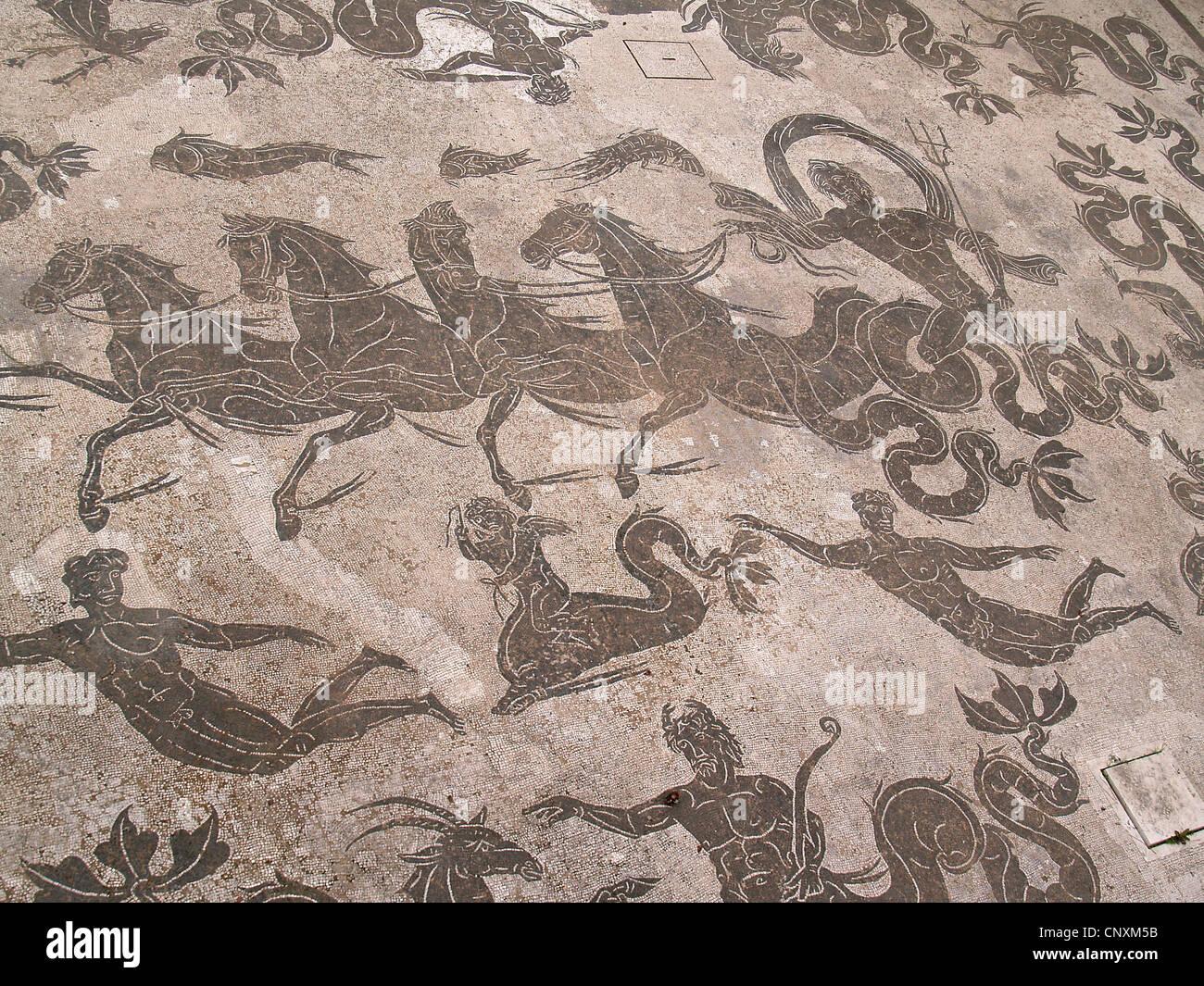 Roman piastrella per pavimenti mosaici di nettuno in sella quattro
