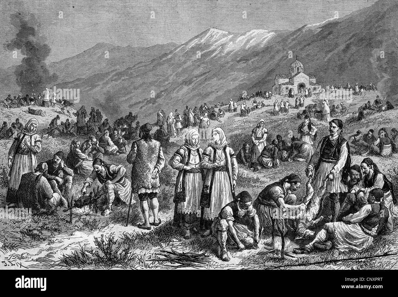 Festival alla fine del periodo di digiuno a Tebe, Egitto, storica incisione di 1883 Immagini Stock