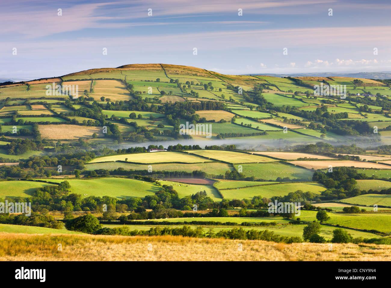 Un patchwork di campi e colline, Parco Nazionale di Brecon Beacons, Carmarthenshire, Wales, Regno Unito. Estate Immagini Stock