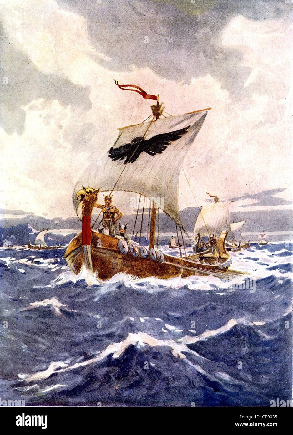 Medioevo, vichinghi, Viking Ship, vela, dipinto da Arch Webb, storico, storico, navi, barca, sul mare Immagini Stock