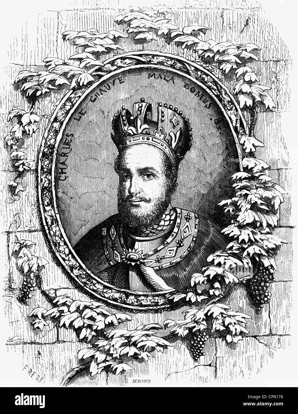 """Charles II """"il calvo', 13.6.823 - 6.10.877, Re della parte ovest della Francia di 843 - 877 e Imperatore Immagini Stock"""
