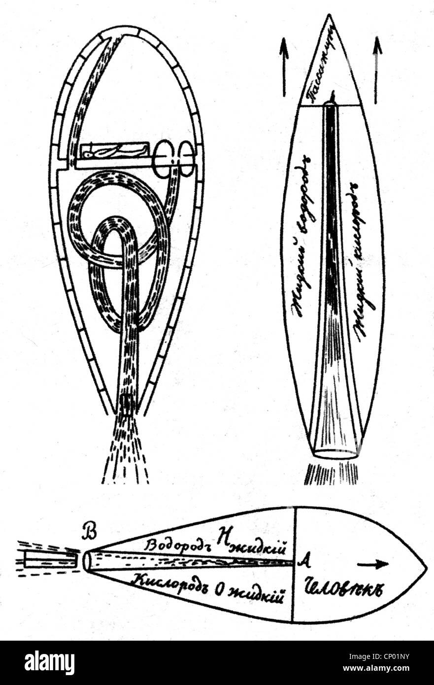 Tsiolkovskii, Konstantin Eduardovich, 17.9.1857 - 19.9.1935, fisico russo, matematico, la nozione di un razzo alimentato Immagini Stock