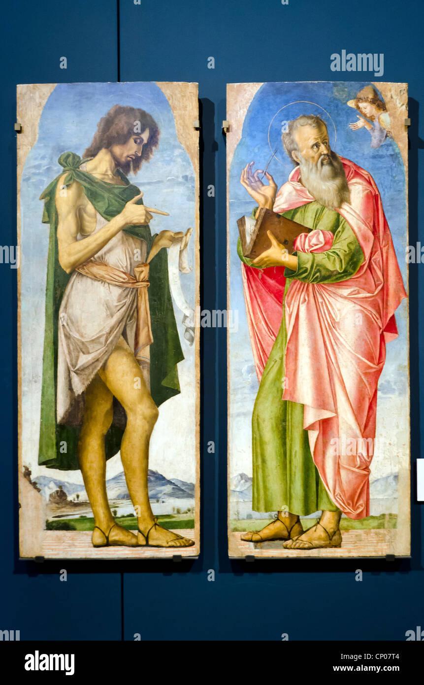 San Giovanni Battista e San Matteo - Alvide Vivarini (Murano 1442/1443 - 1504/1505) - Accademia di Belle Arti di Immagini Stock