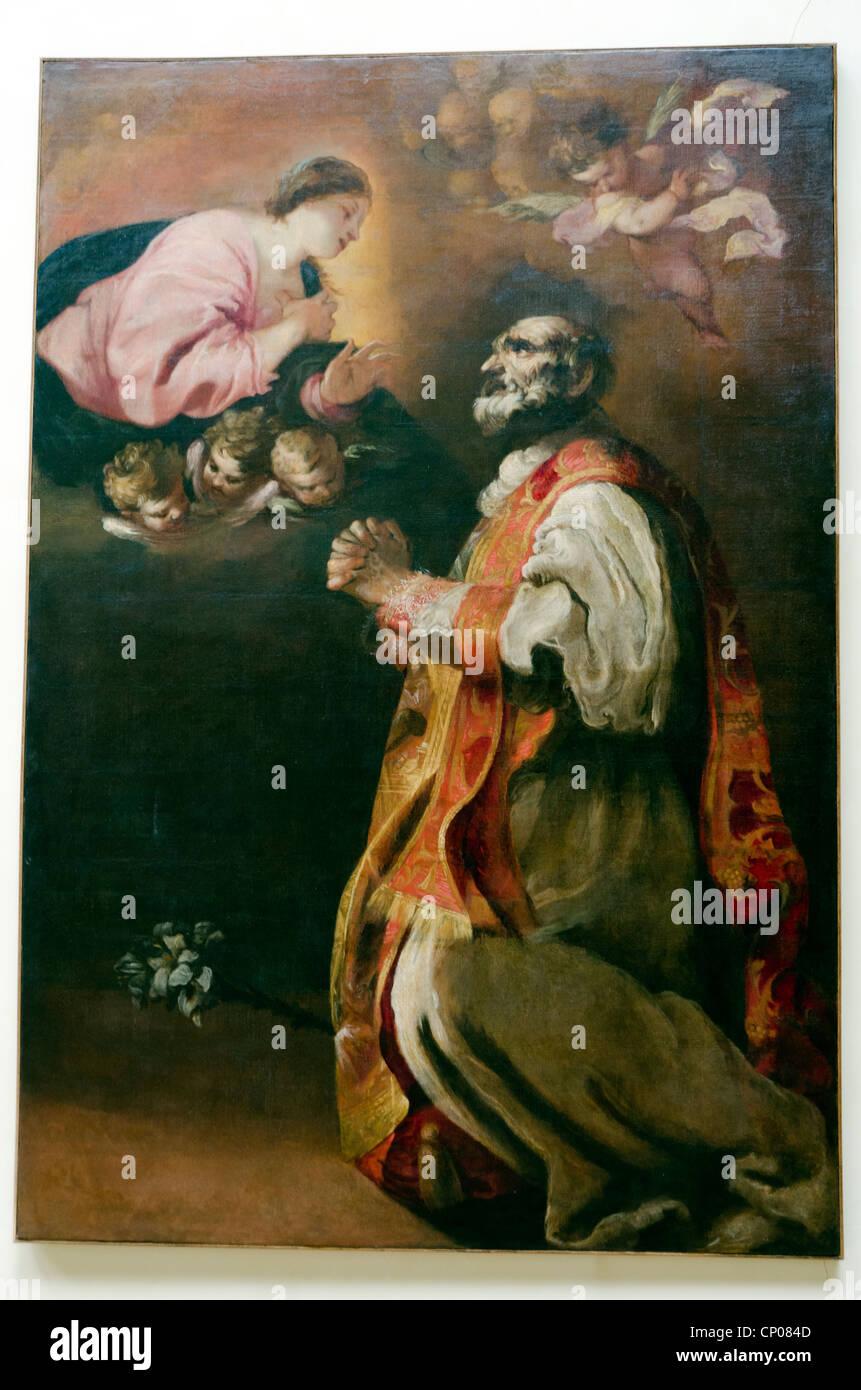 L'apparizione della Vergine a San Filippo Neri - Francesco Maffei (Vicenza 1606 - Padova 1660) - Accademia di Immagini Stock