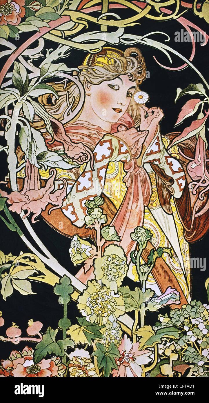 Belle arti, Mucha, Alphonse (1860 - 1939), poster, circa 1900, ornamento, ornamenti, Art Nouveau, Donna con fiori, Foto Stock
