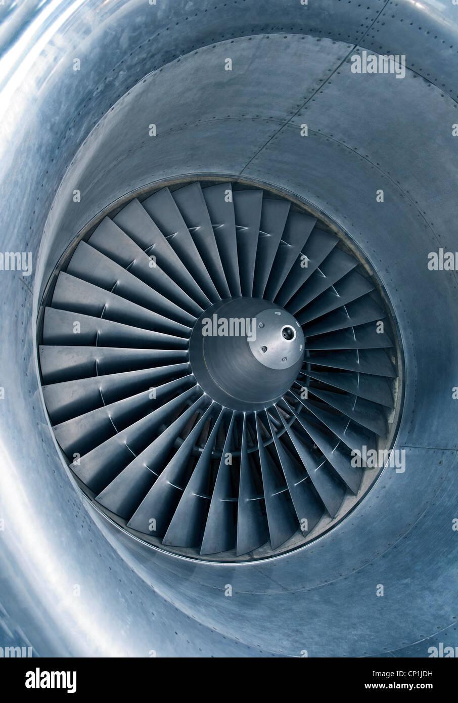 Particolare di una turbina a getto. Immagini Stock