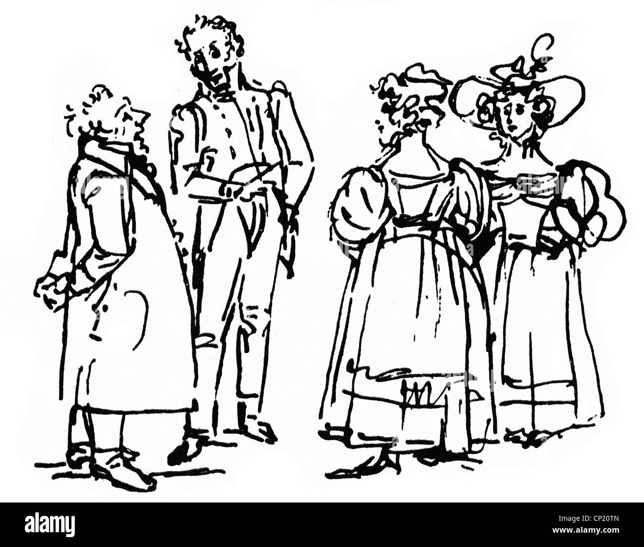 Schadow, Johann Gottfried, 20.5.1764 - 27.1.1850, scultore e grafico tedesco, opere, mostre d'arte, scetch, drawing, circa 1835, Foto Stock