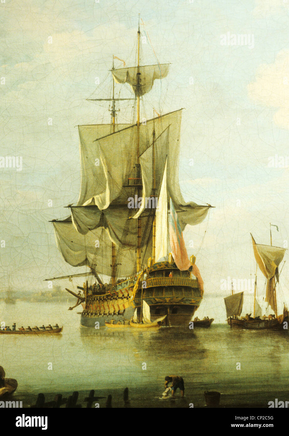 Becalmed nel Solent, pittura ad olio da Charles Brooking, 1723 a 1759, il National Maritime Museum di Greenwich Immagini Stock