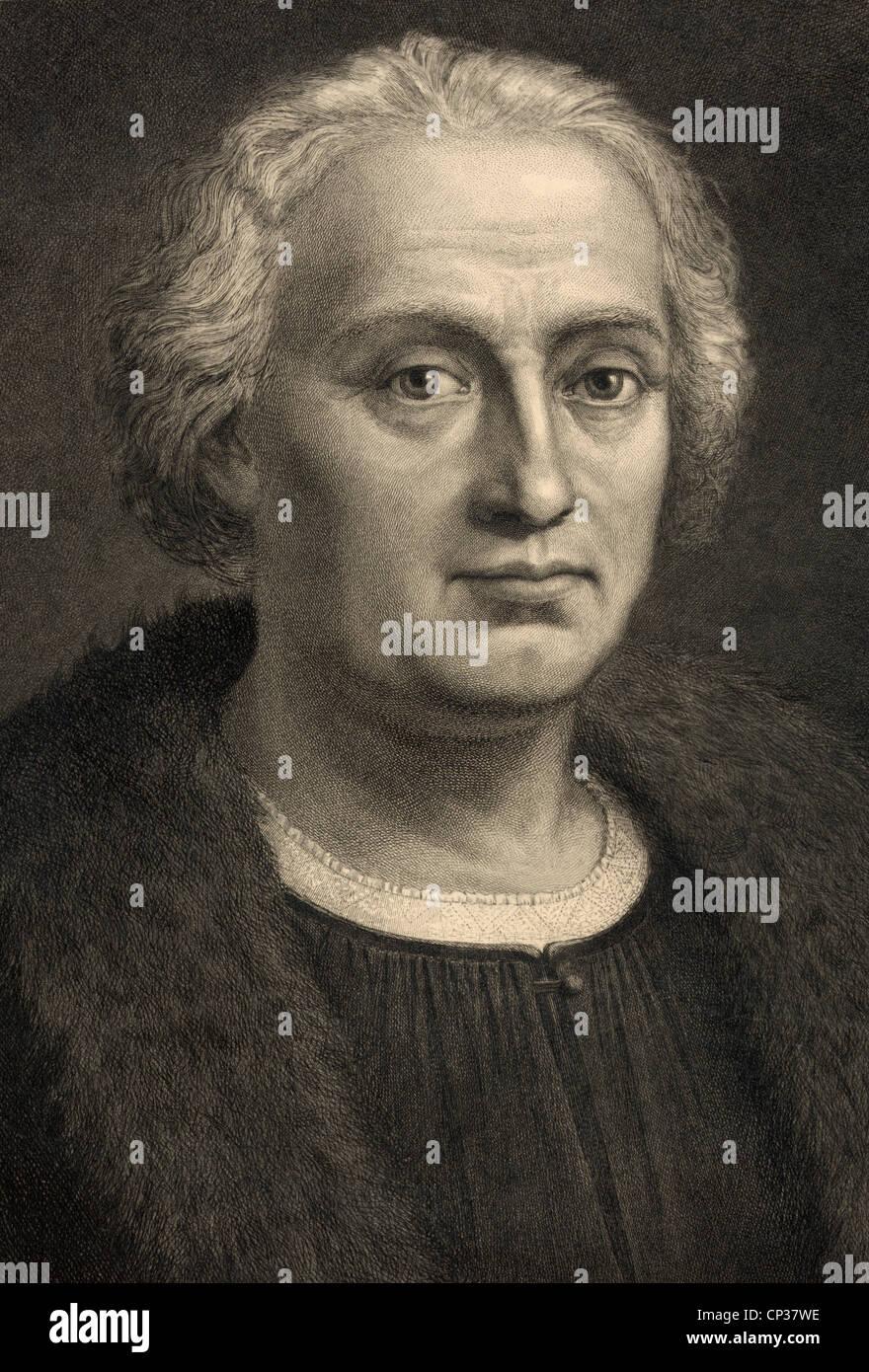 Christopher Columbus 1451-1506. Italiano Spagnolo nato finanziate explorer scopritore di America. Foto Stock