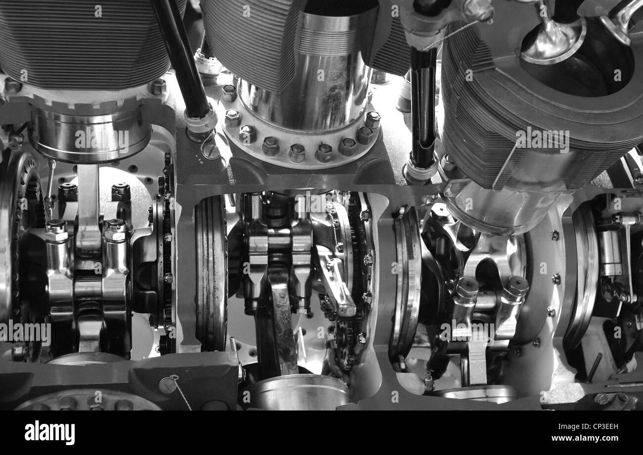 Un dettaglio lo studio dei meccanismi interni di un motore a combustione interna. Immagini Stock