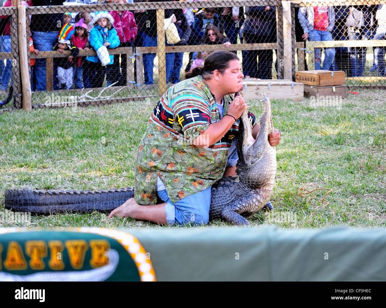 Wrestler di alligatore tocca il suo mento per il muso di un alligatore all'annuale Ormond Beach Native American Immagini Stock
