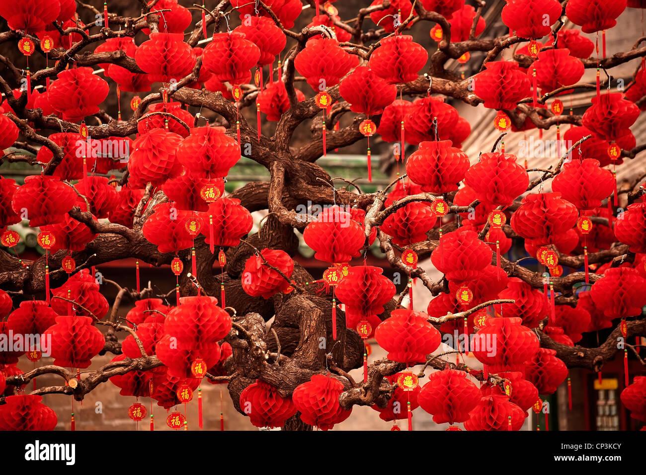 Lucky lanterne rosse nuovo anno lunare cinese decorazioni Parco Ditan, Pechino, Cina Immagini Stock