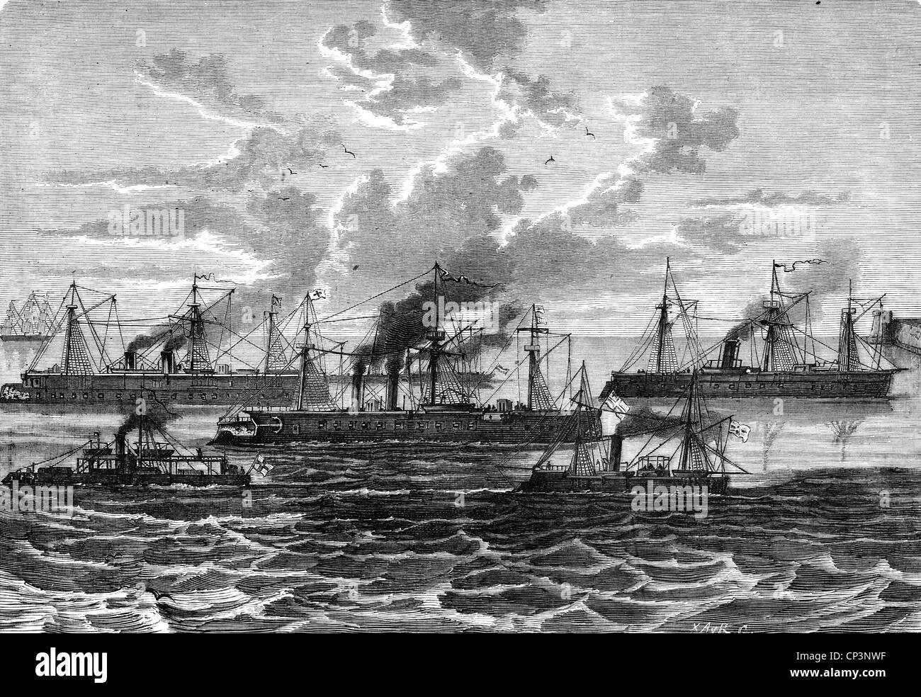 Eventi, guerra franco-prussiana 1870 - 1871, guerra navale, flotta tedesca di ironglad a Wilhelmshaven, ironglad Foto Stock