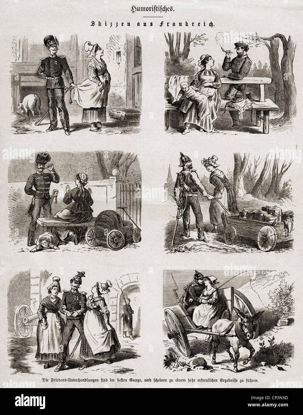 Eventi, guerra franco-prussiana 1870 - 1871, stampa, 'cetches from France', incisione in legno, 1871, diritti-aggiuntivi Foto Stock