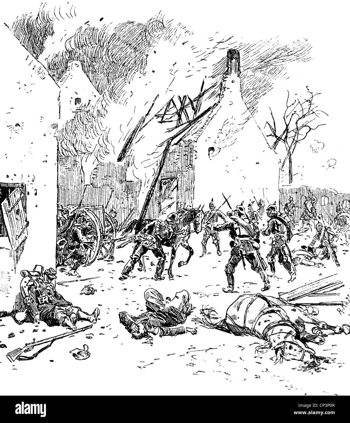 Eventi, guerra franco-prussiana 1870 - 1871, Battaglia di Villejouan, 10.12.1870, la 33a Brigata (anseatica) coinvolta Foto Stock
