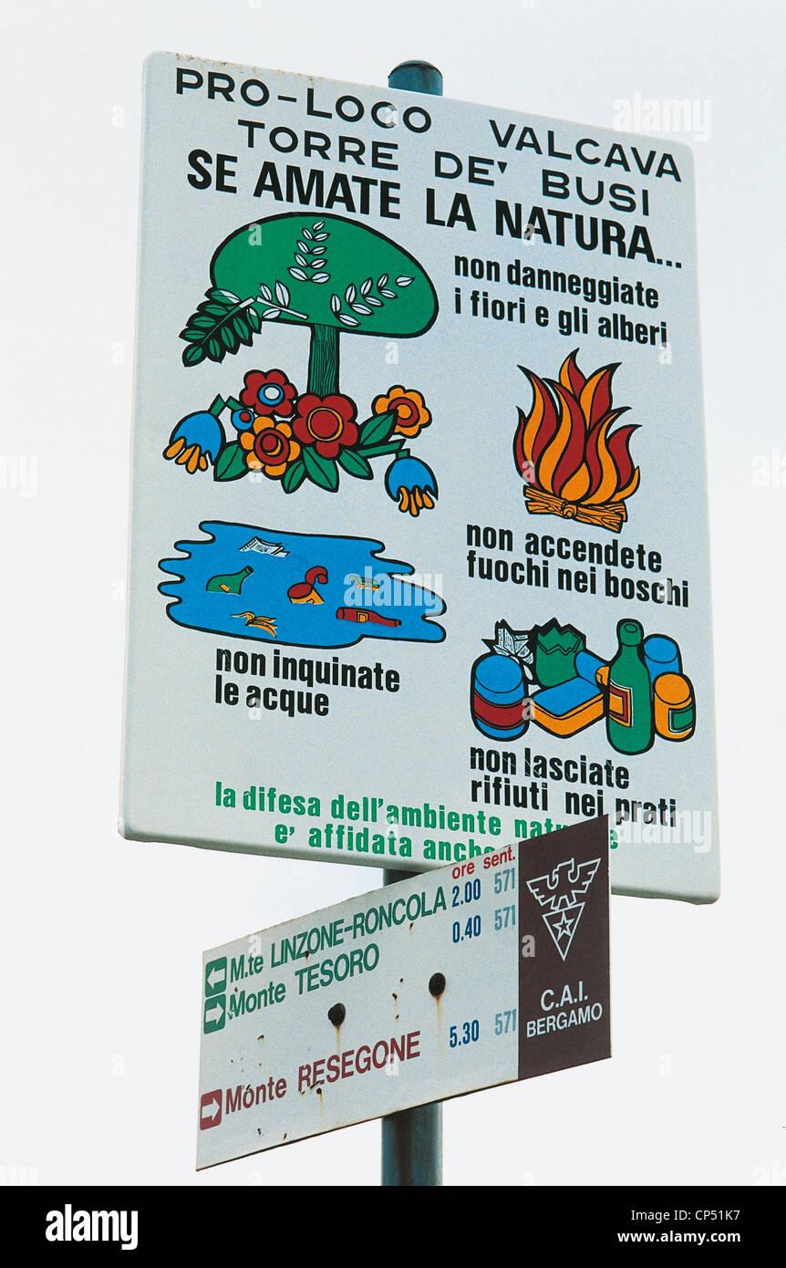 Valle di Scalve Lombardia (Bg) cartello Immagini Stock