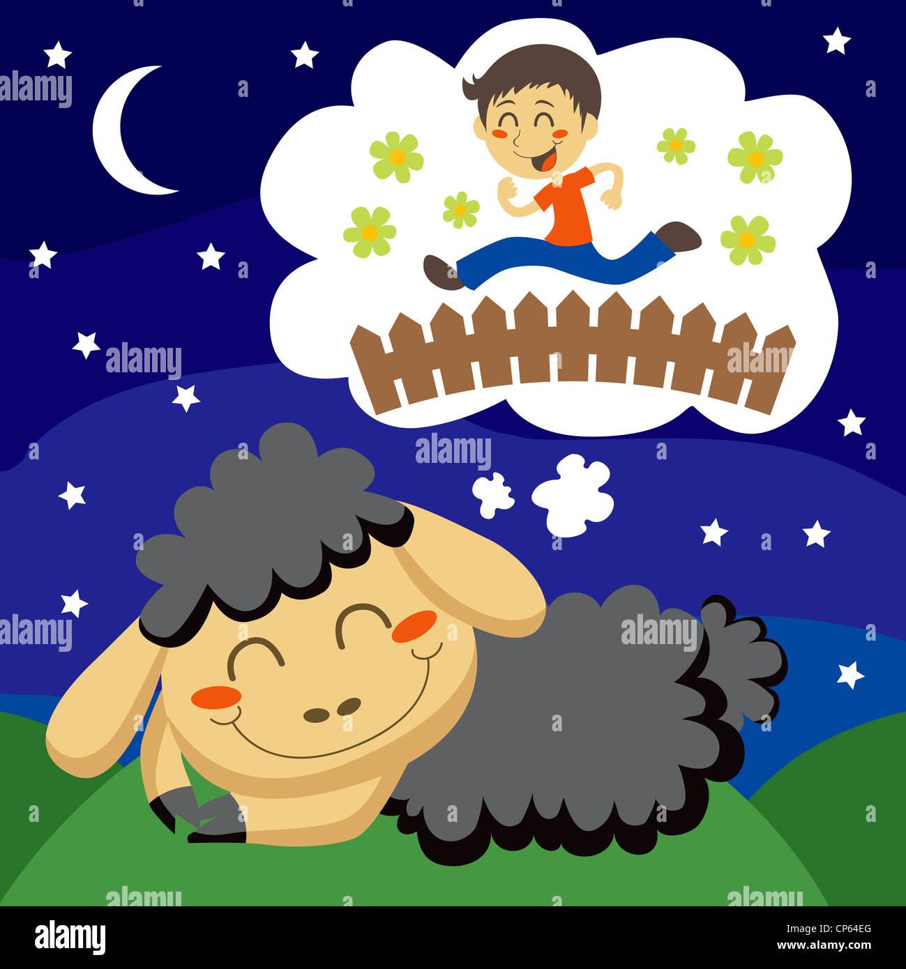 Pecora nera a contare i bambini saltando su un recinto per dormire