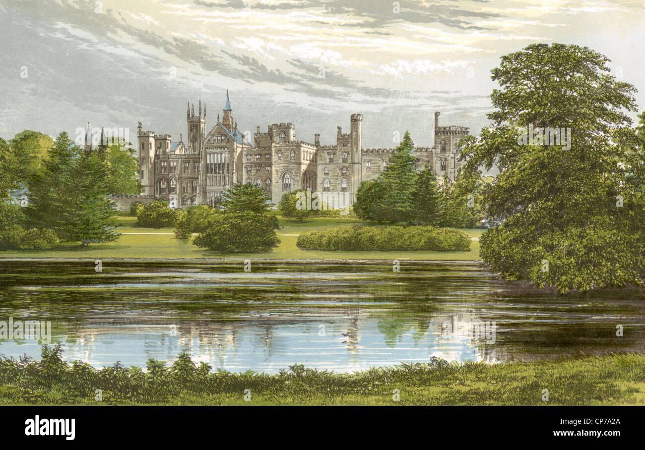 La pittura ad acquerello di Alton Towers Castello, Staffordshire, Inghilterra. Immagini Stock