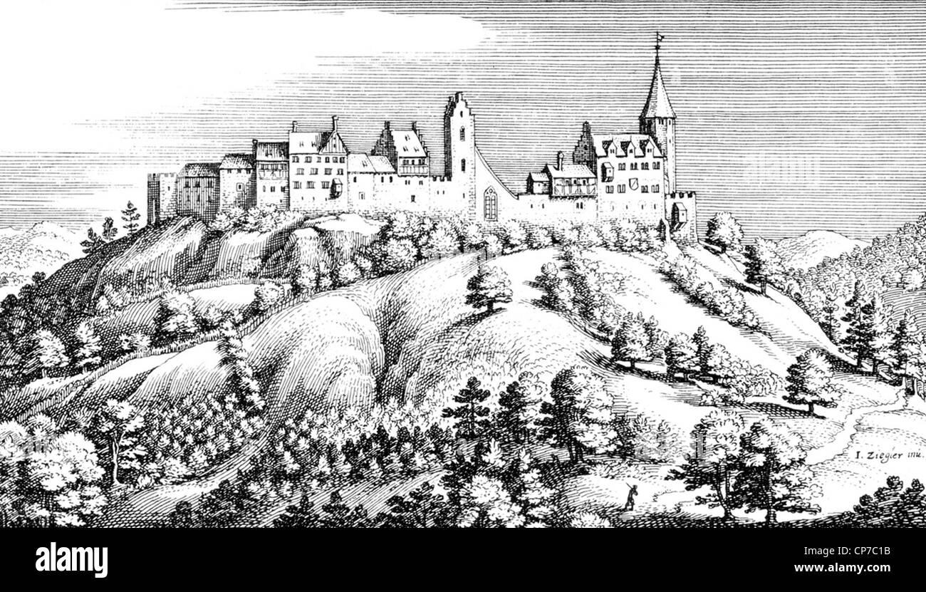 Insediamento fortificato di Ratisbona nel Cantone di Zurigo, Svizzera. Incisi da Matthäus Merian nel 1654. Immagini Stock