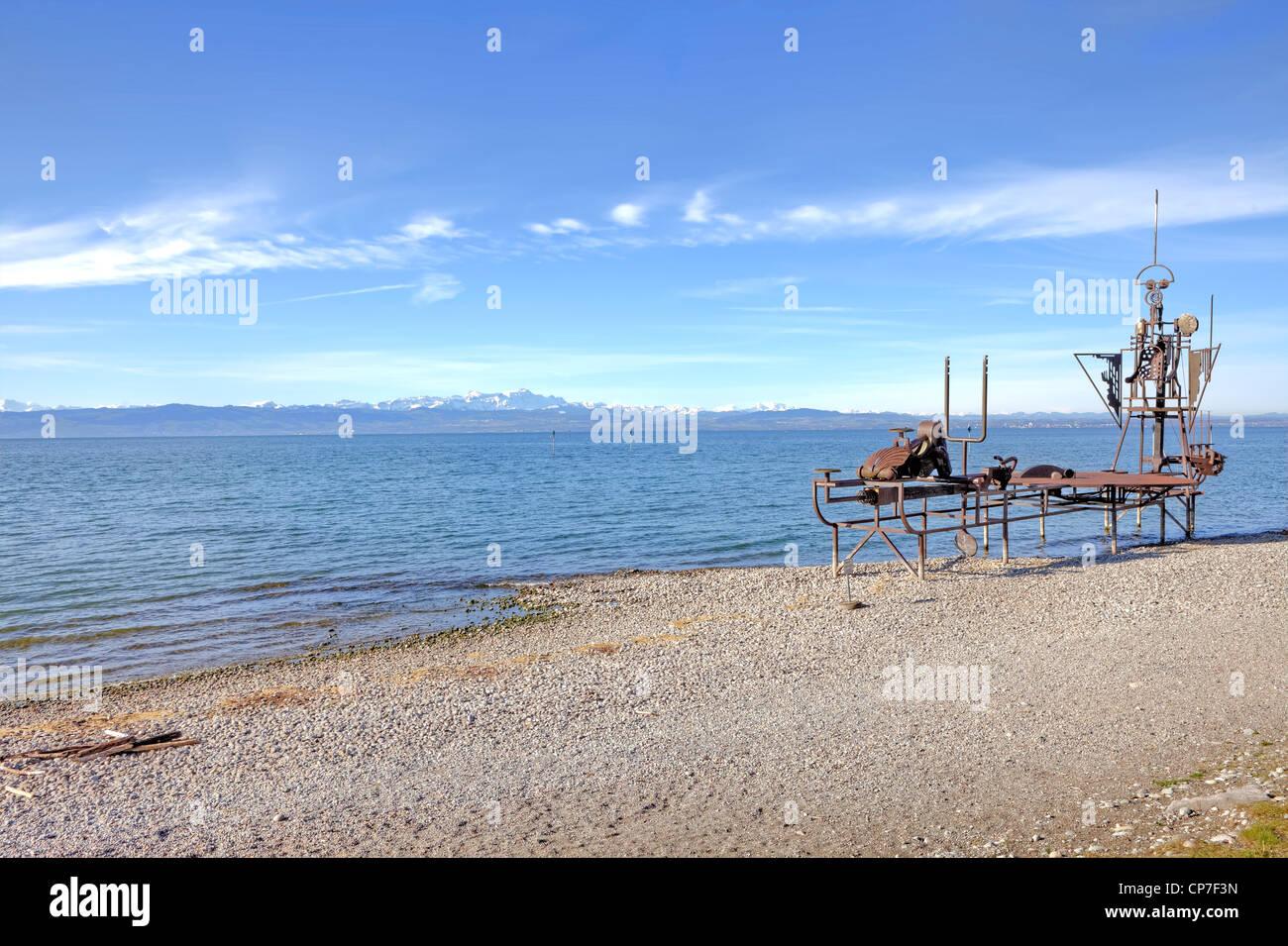 Nave suono, al momento, Friedrichshafen, Lago di Costanza, Baden-Württemberg, il lago di Costanza - Germania Immagini Stock