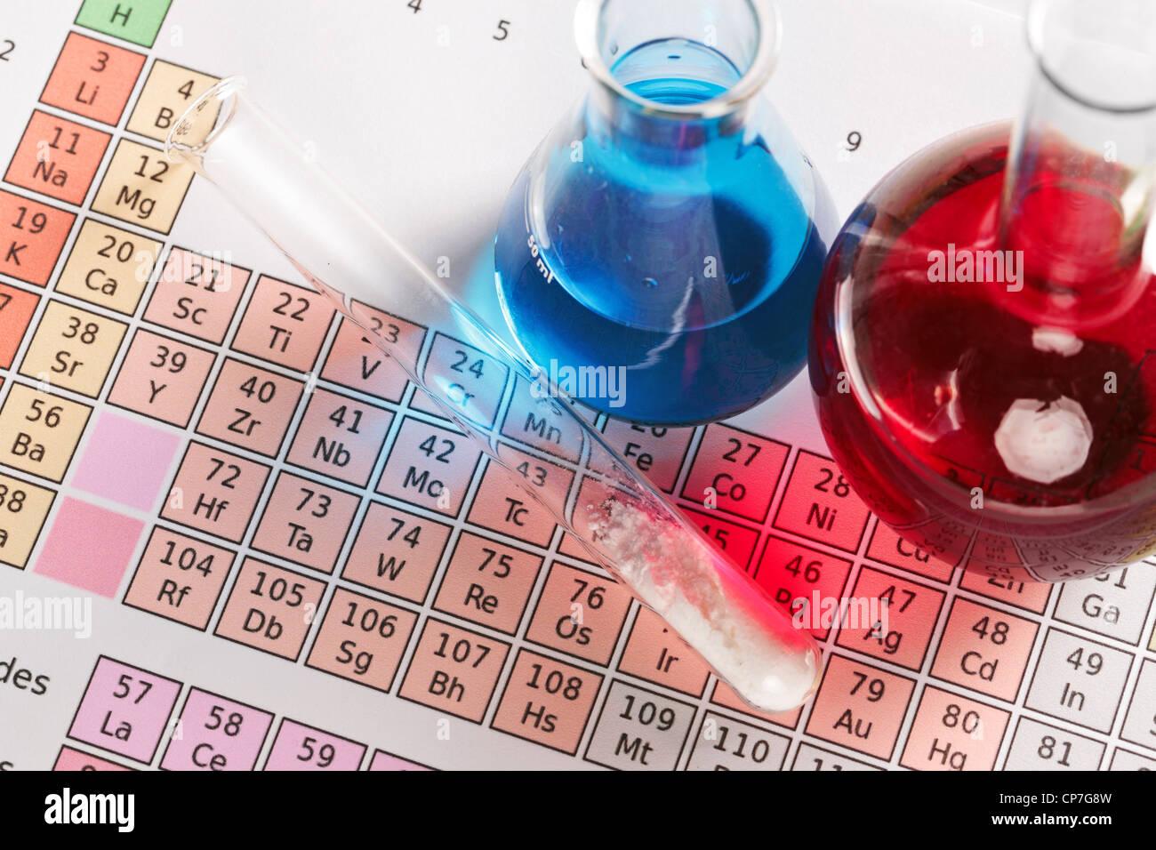Foto di una tavola periodica degli elementi con palloni e tubo di prova contenenti prodotti chimici sia liquidi Immagini Stock