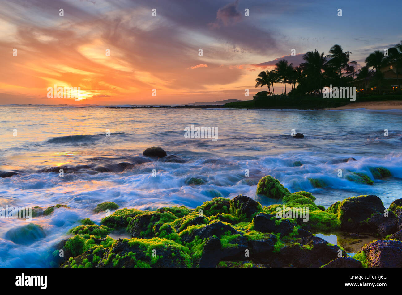 Tramonto al famoso Poipu Beach, Kauai, Hawaii Immagini Stock