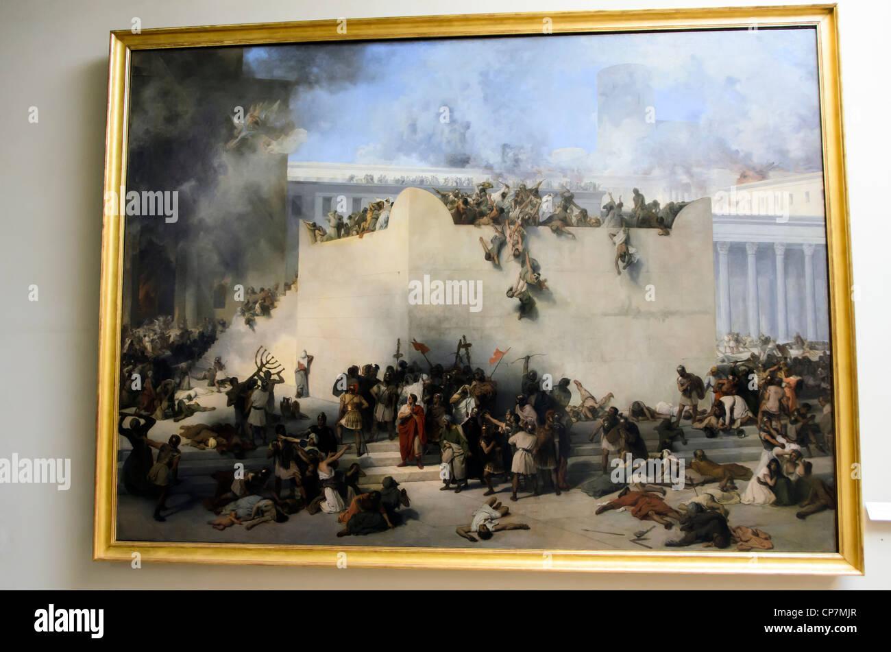 Distruzione del tempio di Gerusalemme di Francesco Hayez (Venezia 1791 - Milano 1882) - Accademia di Belle Arti, Immagini Stock
