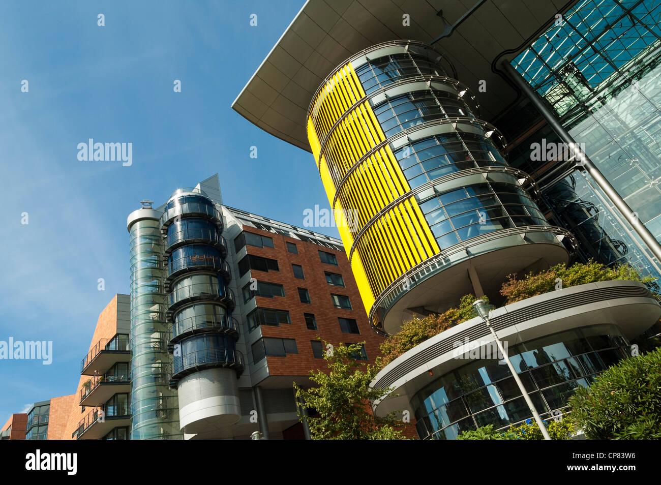 La moderna architettura della Daimler edifici per uffici e appartamenti nella Potsdamer Platz di Berlino, Germania Immagini Stock