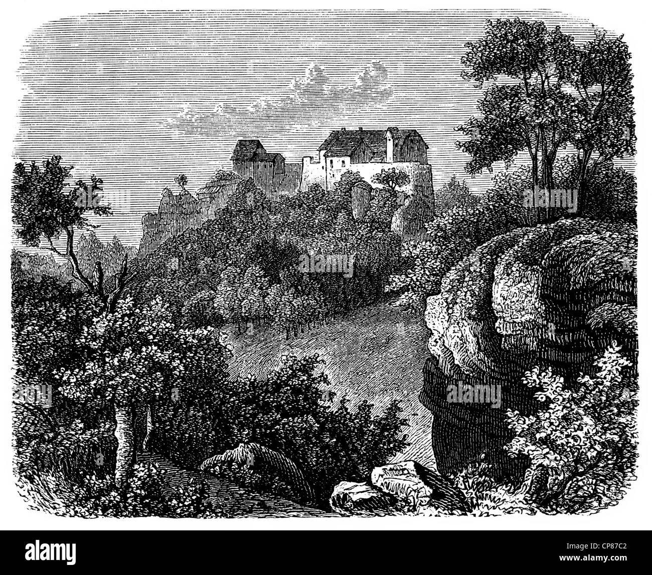 Il Castello di Wartburg nel XVIII secolo, Eisenach, Germania, incisione storica del XIX secolo , die im Wartburg Immagini Stock