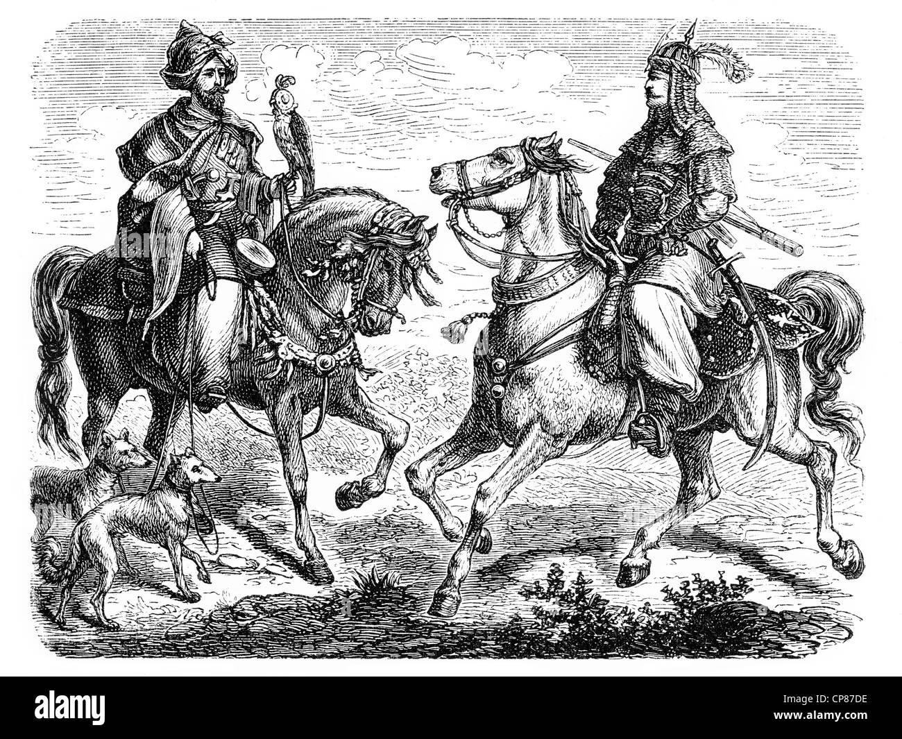 Capi in Libano, incisione storica del XIX secolo Häuptlinge im Libanon, historischer Stich Immagini Stock