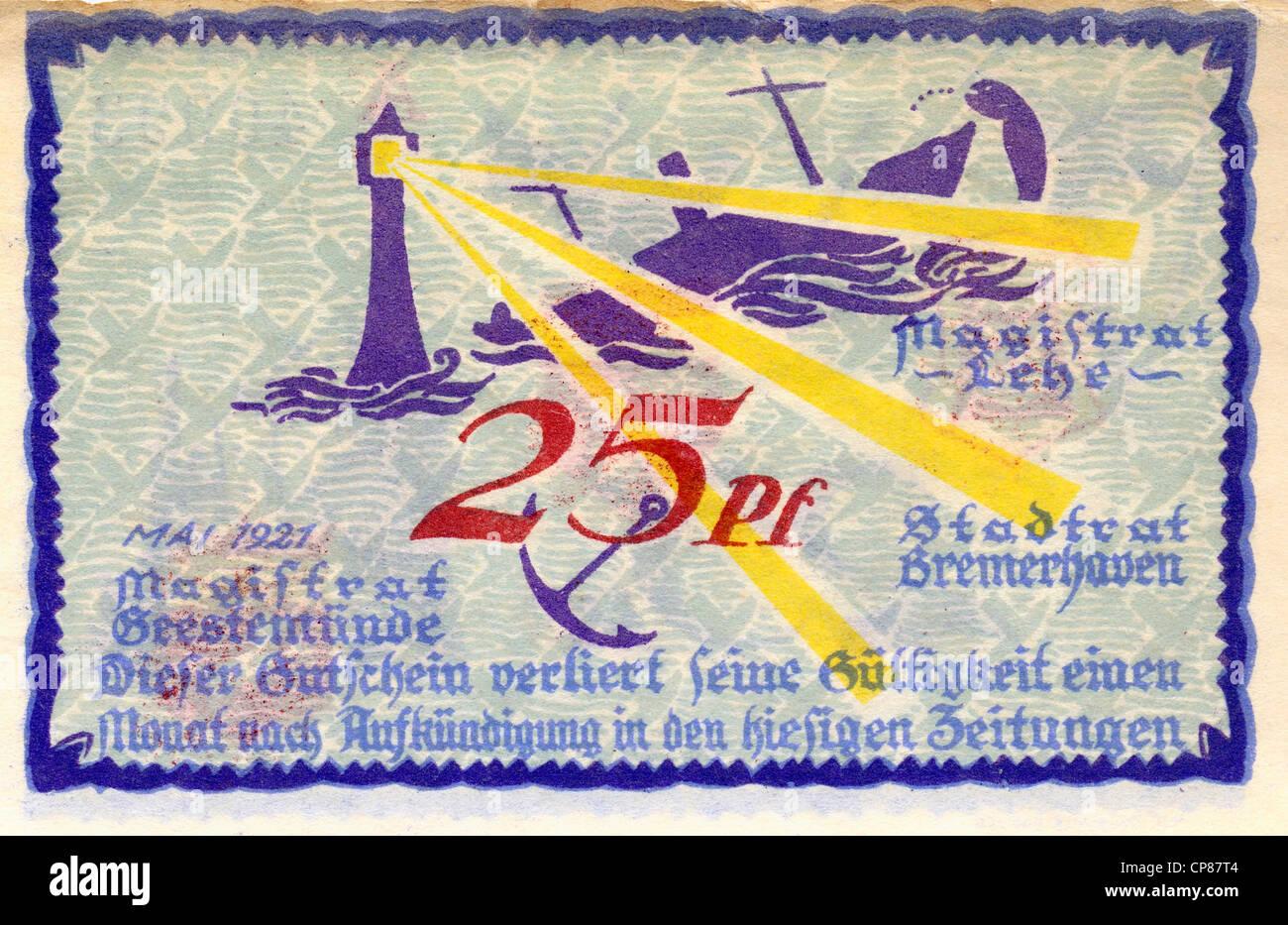 Notgeld aus Bremerhaven, 25 Pfennig, 1921, Deutschland, Europa, moneta di emergenza, la banconota, Germania, Europa Immagini Stock