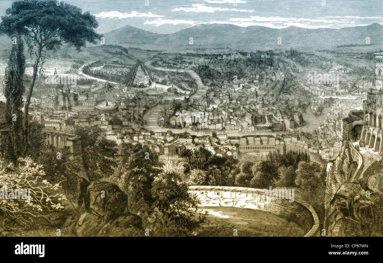 La città di Roma, Italia, incisione storica del XIX secolo, Stadtansicht von Rom, Italien, historischer Stich Immagini Stock
