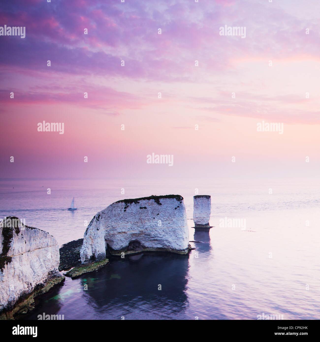 Vista della vecchia Harry rocce, Chalk pile che sporgono nel canale in inglese da Jurassic Coast, punto Handfast, Immagini Stock