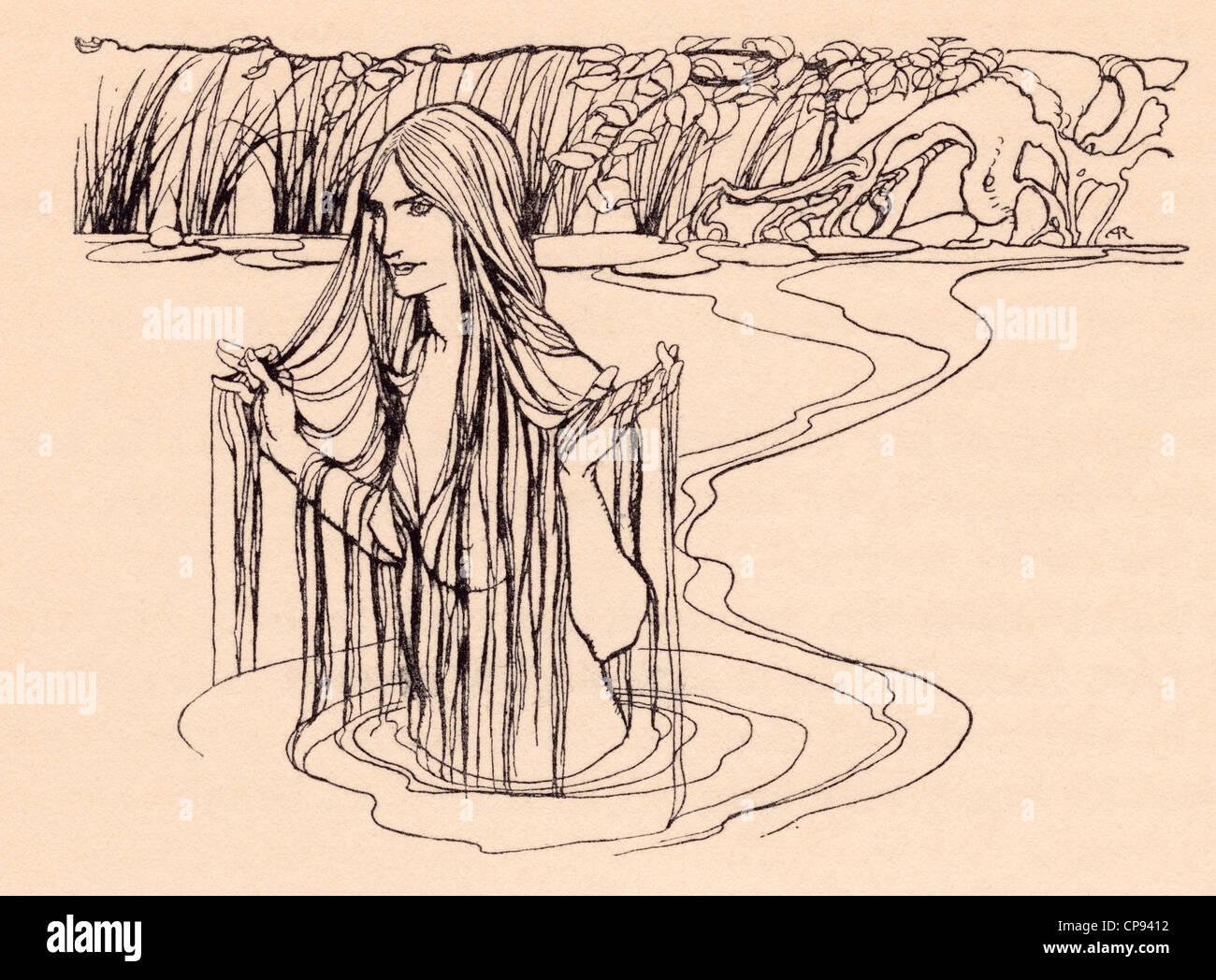 Illustrazione da Grimm fiaba, il Nix del mulino-stagno Immagini Stock