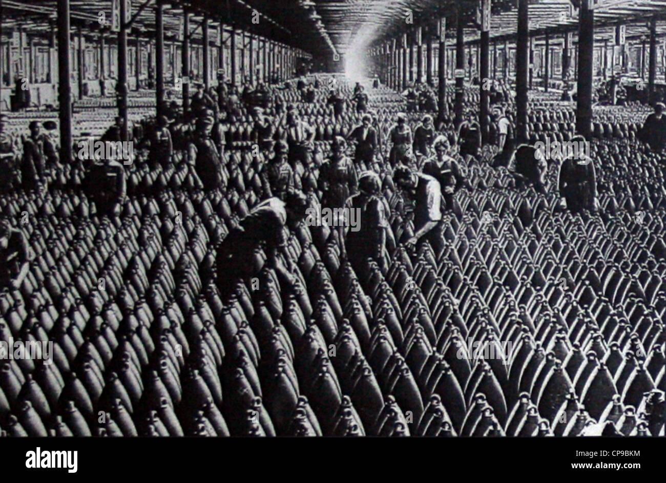 Fabbrica belga di mortaio munizioni, fine del 19. secolo Immagini Stock