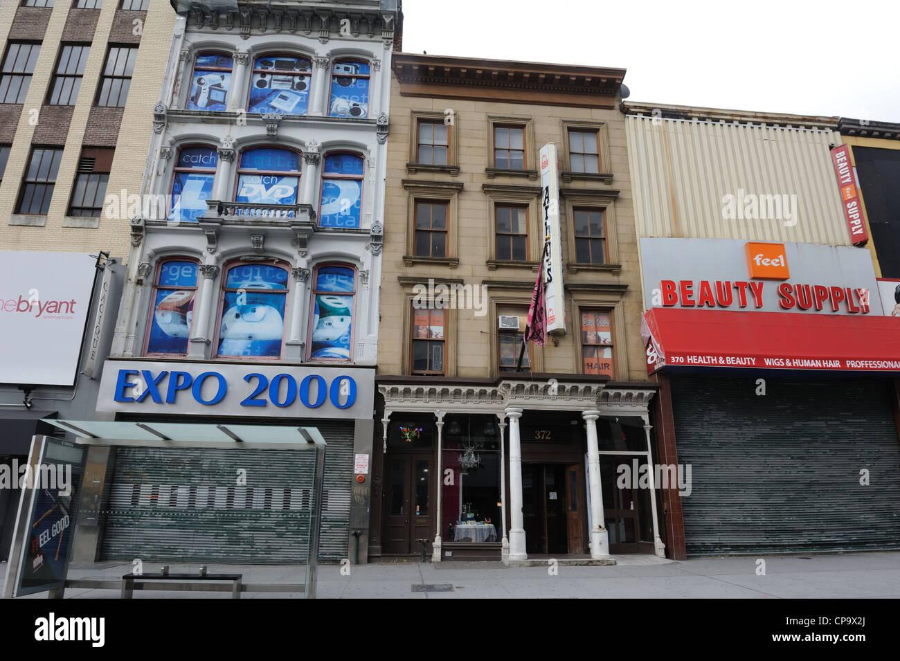 L'arenaria Italianamente a 372 Fulton San in downtown Brooklyn una volta alloggiato il leggendario Gage & Immagini Stock