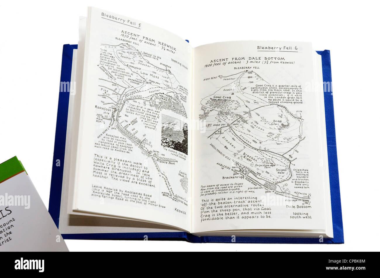 Alfred Wainwrights famosa guida pittorica al Lakeland Fells Immagini Stock
