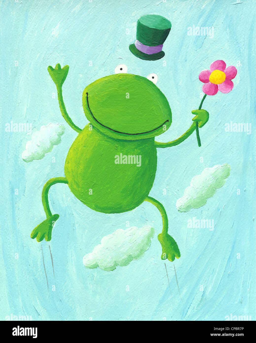 Illustrazione in acrilico di funny frog jumping fino Immagini Stock