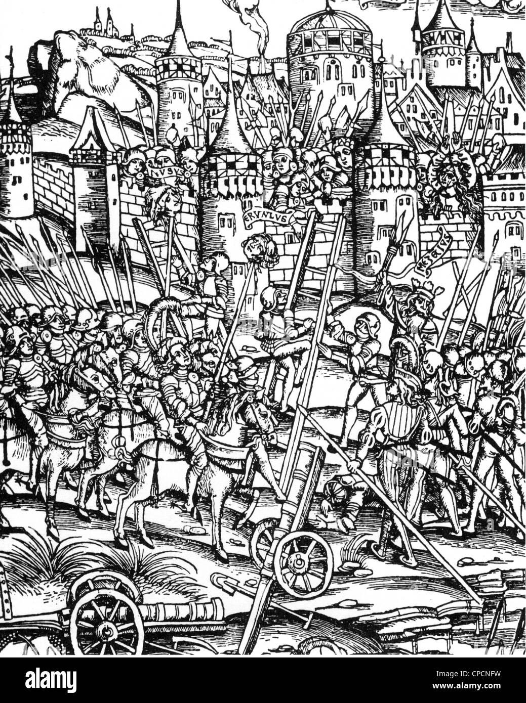 Assedio medioevali WARFARE Immagini Stock